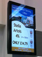 digital signage East End Foods Stella Advert
