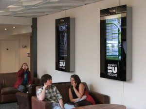 digital posters in student union controlled by digitalsignage.NET by Dynamax