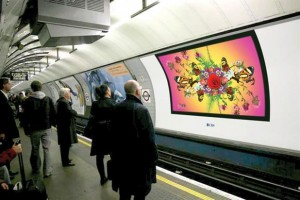 digital signage cross rail projection