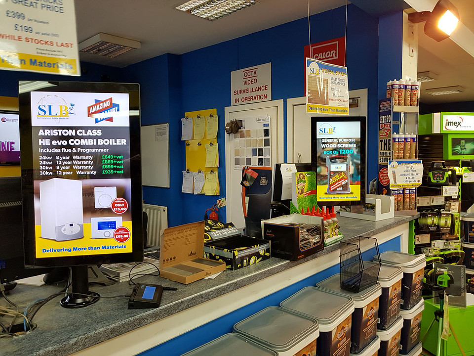 Builder merchant counter top digitalsignage