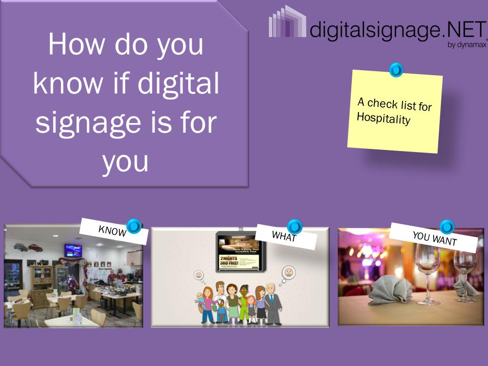 Digital media signage checklist (hospitality)