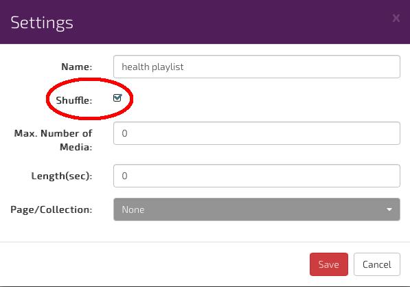 digitalsignage.net Playlist settings in channel