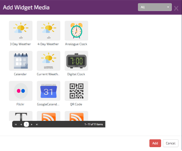 digitalsignage.NET Add media widgets