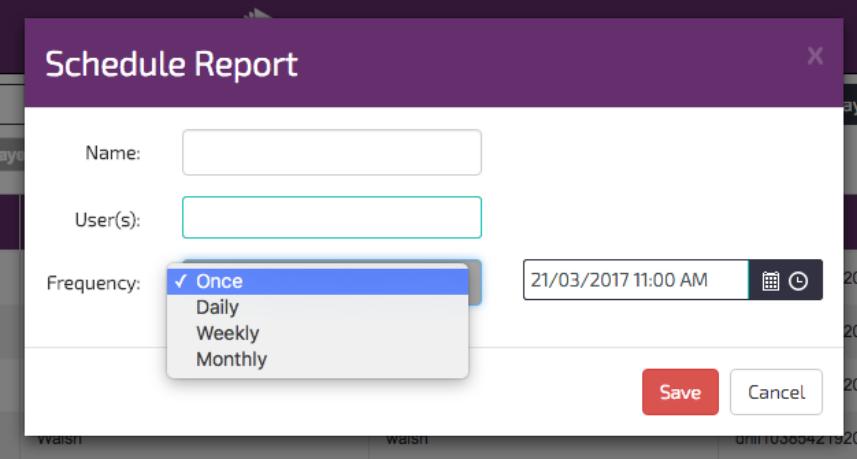digitalsignage.net Schedule report window
