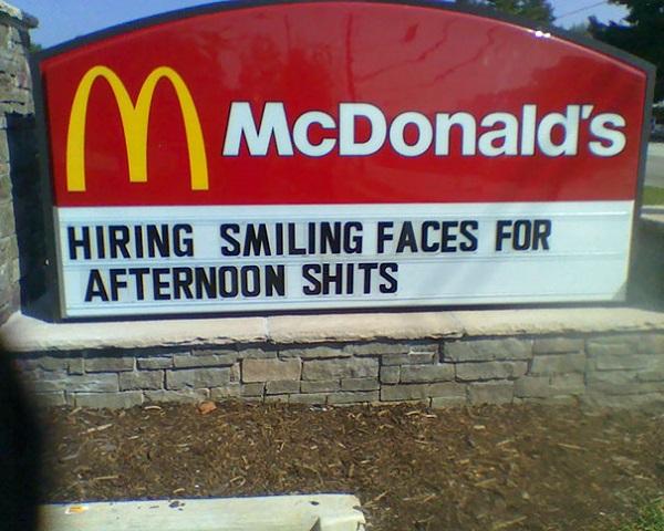 McDonalds hiring staff fails